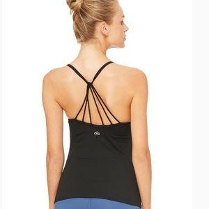 ALO Yoga Sunny Strappy Bra Tank Size Small Black